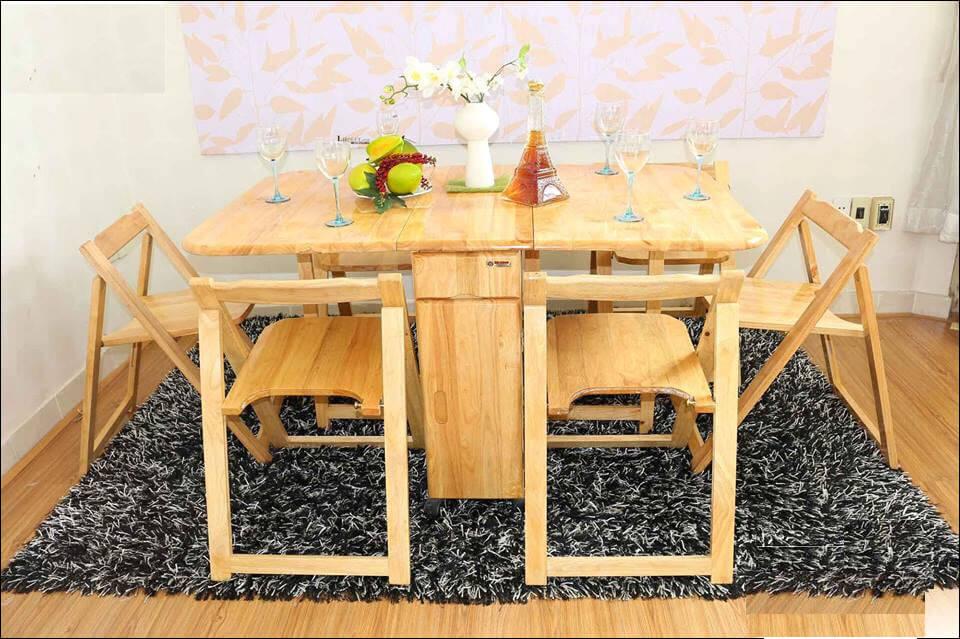 Bàn ăn xếp gọn chữ nhật màu gỗ tự nhiên