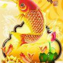 Bàn tranh treo tường xếp gọn hình cá chép vàng 0