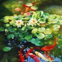 Bàn tranh treo tường xếp gọn hình cá Koi hoa sen 0