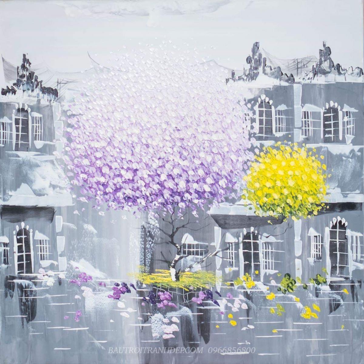 Bàn tranh treo tường xếp gọn hình ngôi nhà tuyết trắng