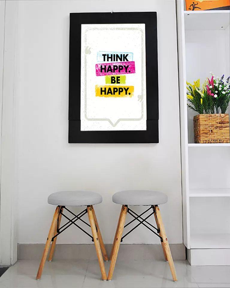 Bàn tranh treo tường xếp gọn hình think happy be happy