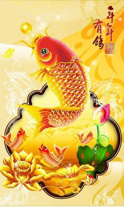 Bàn tranh treo tường xếp gọn hình cá chép vàng