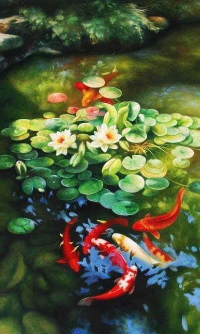 Bàn tranh treo tường xếp gọn hình cá Koi hoa sen