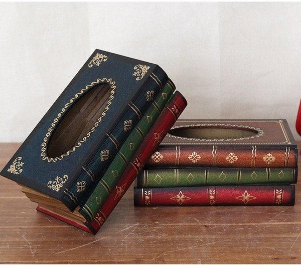 Hộp khăn giấy dạng cổ điển hình quyển sách