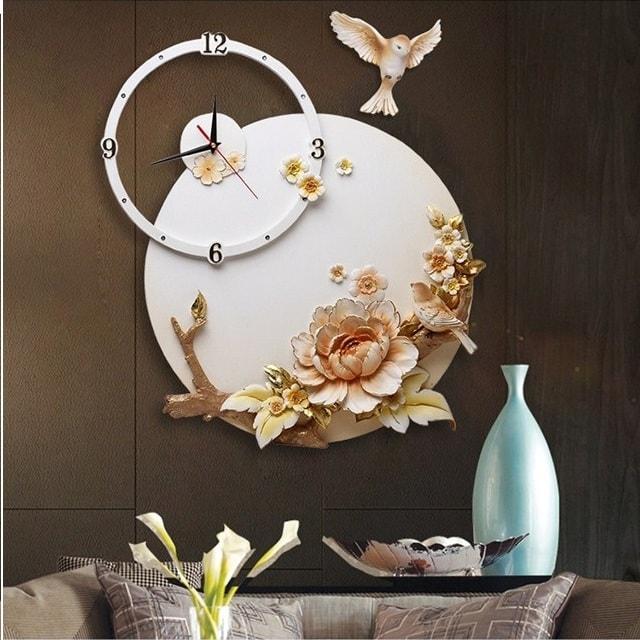 Đồng hồ treo tường phù điêu hoa mẫu đơn và chim