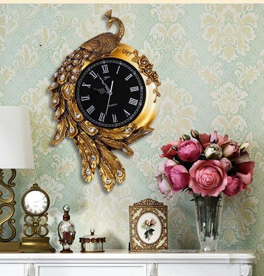 Đồng hồ chim công vàng - phong cách châu Âu cổ điển